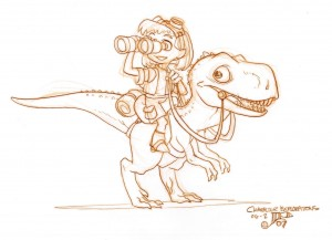 Girl on Dinosaur